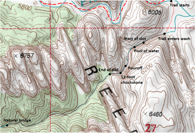 Map of Pleasant Creek slot canyon and route to natural bridge, Capitol Reef National Park; adapted from: http://www.mytopo.com/maps/