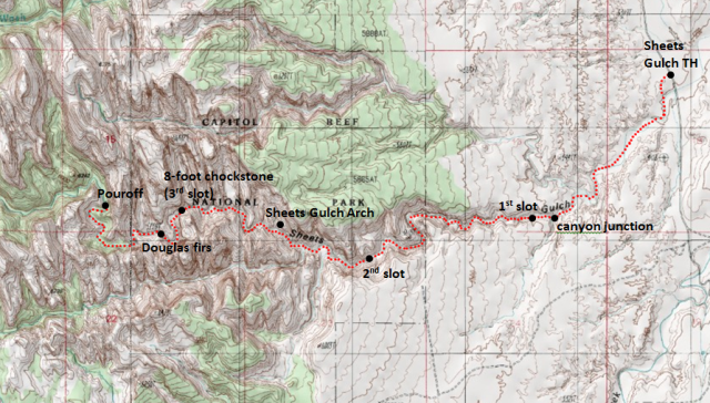 Trail map for day hike in Sheets Gulch, Capitol Reef National Park; adapted from: http://www.mytopo.com/maps/