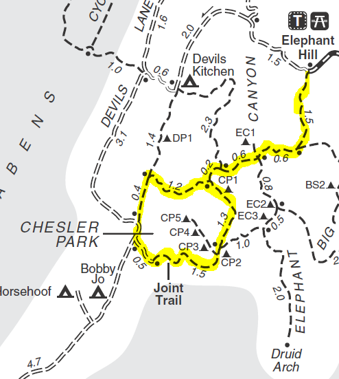 Map of Chesler Park Loop and Joint Trail. Adapted from: http://www.nps.gov/cany/planyourvisit/upload/needles.pdf