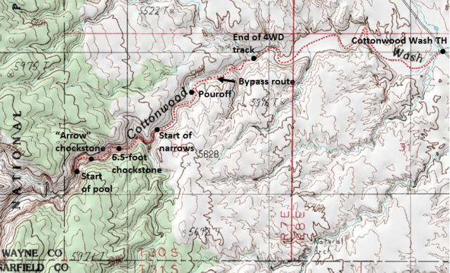 Map of Cottonwood Wash route, Capitol Reef National Park; adapted from: http://www.mytopo.com/maps/