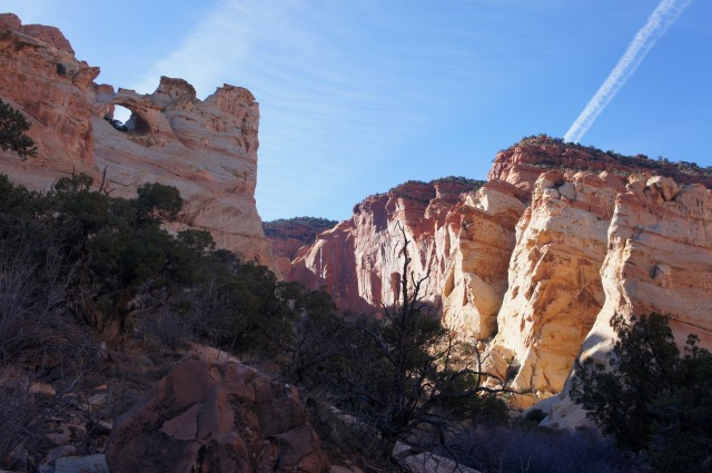 Looking back at the double arch, Red Canyon, Capitol Reef National Park