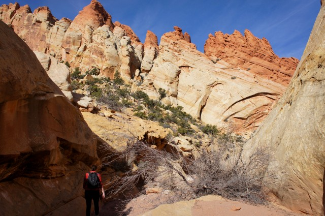 Walking through Upper Muley Twist Canyon, between Muley Arch and Saddle Arch