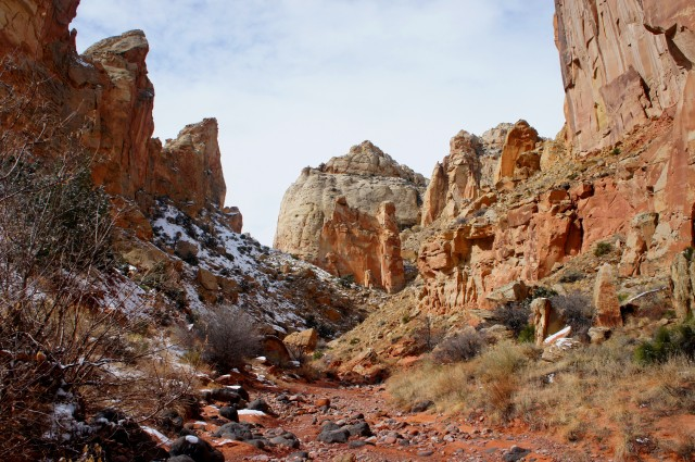 Landscape of spires and Navajo sandstone domes, Lower Spring Canyon