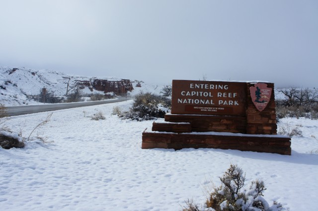 East boundary, Capitol Reef National Park, after a small snowstorm