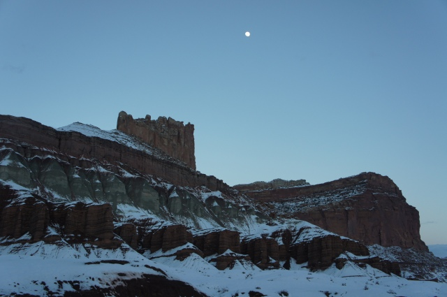 Moonrise over The Castle in winter, Capitol Reef National Park, March 2015