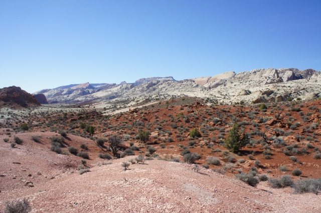 View of Waterpocket Fold from the low divide, as Halls Creek winds off to the west (right), Capitol Reef National Park