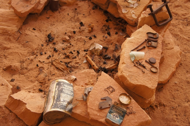 Trinkets left in Cowboy Cave from the 1920s