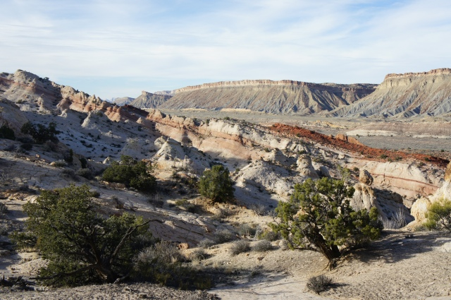 Beautiful pink-striped cliffs visible from the Post Cut-off route, Capitol Reef National Park