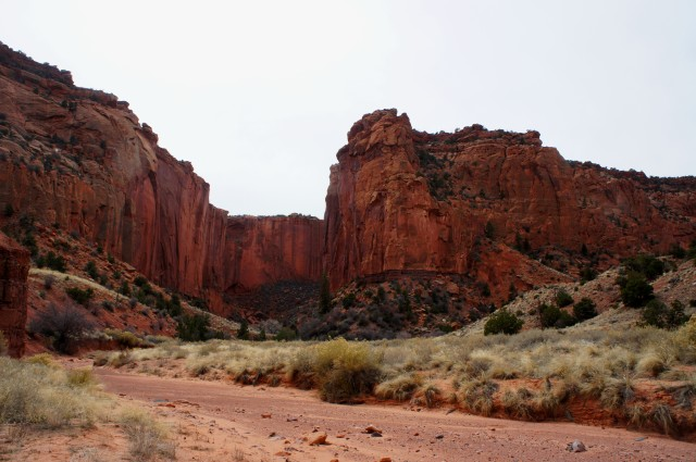 "Entrance of side canyon known to canyoneers as ""Pandora's Box,"" Upper Spring Canyon, Capitol Reef National Park"
