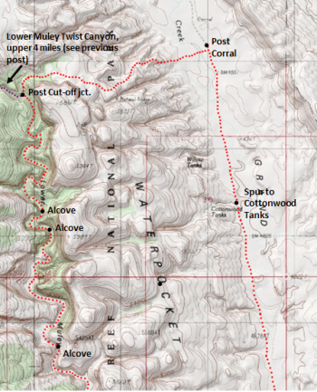 Map of Lower Muley Twist Canyon route, including Post Cut-off and Grand Gulch routes, Capitol Reef National Park; adapted from: http://www.mytopo.com/maps/