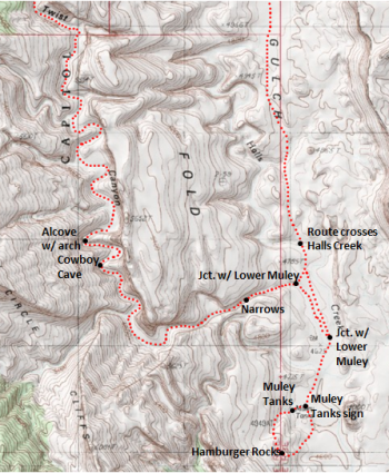 Map of Lower Muley Twist Canyon route, including Grand Gulch and Hamburger Rocks; adapted from: http://www.mytopo.com/maps/