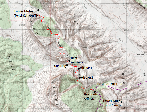 Map of Lower Muley Twist Canyon, first four miles (to the Post Cut-off Route), Capitol Reef National Park; adapted from: http://www.mytopo.com/maps/