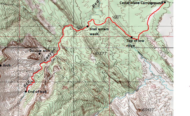 Map of Red Canyon Trail and Route, Capitol Reef National Park; adapted from: http://www.mytopo.com/maps/