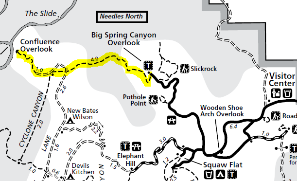 Map of Confluence Overlook Trail, Needles District, Canyonlands National Park; adapted from: http://www.nps.gov/cany/planyourvisit/upload/NeedlesTrailsandRoads.pdf