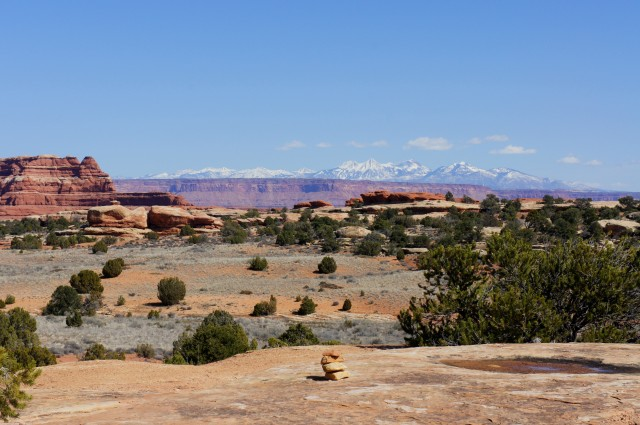 View of the La Sal Mountains from the first of the two final ridges