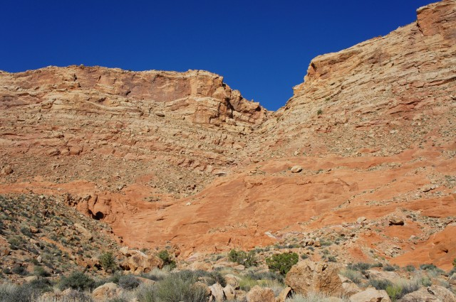 "Look back at the ""airport route"" (or ""airstrip route"") access ravine slicing through Big Thompson Mesa, Halls Creek Narrows route, Capitol Reef National Park"