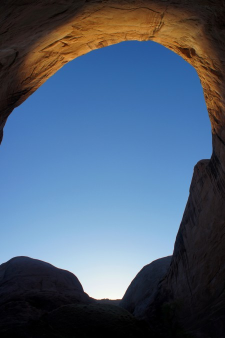 "Sunrise after camping in ""the amphitheater,"" Halls Creek Narrows route, Capitol Reef National Park"
