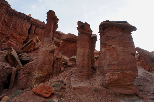 Four hoodoos, The Castle Trail, Capitol Reef National Park