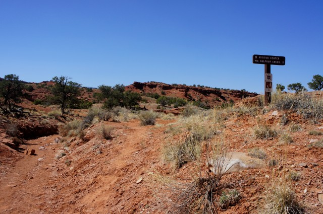 Start of the Sulphur Creek route, across from the Chimney Rock Trailhead parking area