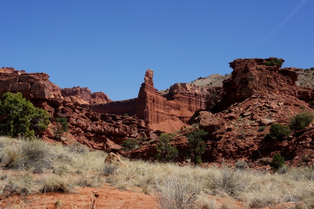 Fantastic view of Chimney Rock from the Sulphur Creek route, Capitol Reef National Park