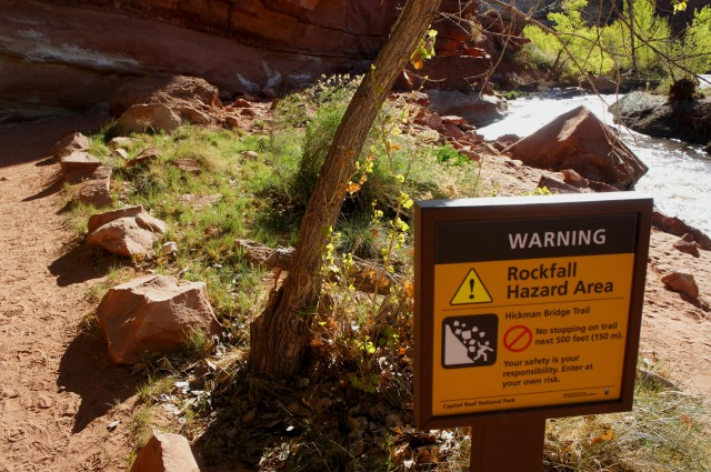 Rockfall hazard area, Hickman Bridge Trail, Capitol Reef National Park