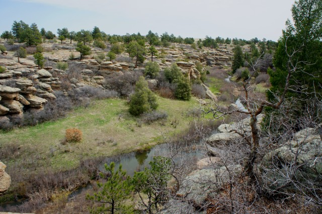 View of Castlewood Canyon to the east, East Canyon Trail