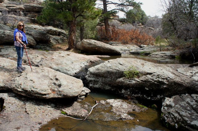 Minor cascade and pools in the side drainage leading out of Castlewood Canyon