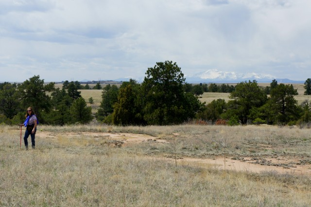 Pikes Peak in the distance from the East Canyon Trail, Castlewood Canyon State Park
