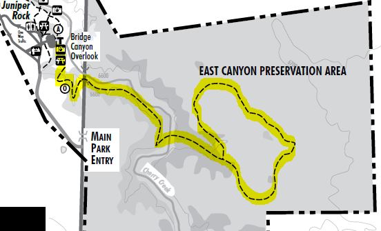 Map of East Canyon Trail, Castlewood Canyon State Park; adapted from: http://cpw.state.co.us/placestogo/parks/CastlewoodCanyon/Pages/MapsDirections.aspx