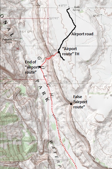 "Map of Halls Creek Narrows hike via the ""airport"" shortcut route, Capitol Reef National Park (1 of 2); adapted from: http://www.mytopo.com/maps/"