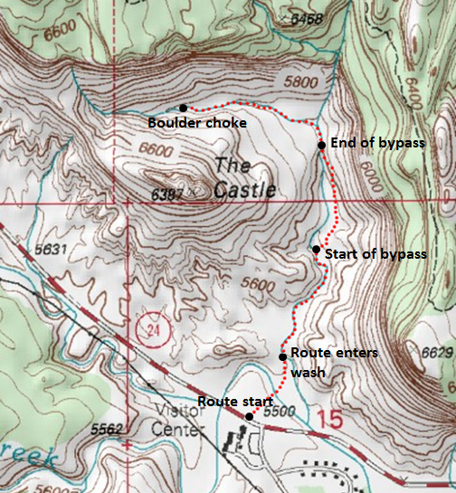 Map of The Castle Trail, Capitol Reef National Park; adapted from: http://www.mytopo.com/maps/