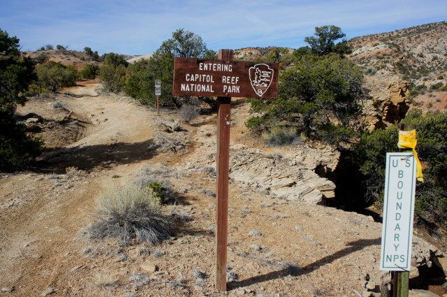 Entering Capitol Reef National Park on the Oak Creek access road
