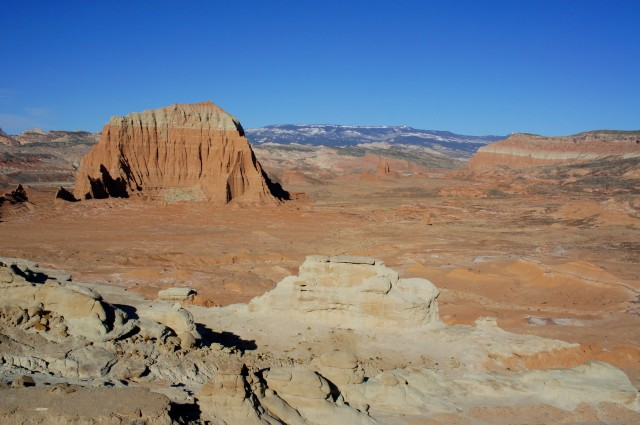 View from the Lower South Desert Overlook: Jailhouse Rock, Waterpocket Fold, Temple Rock, and Boulder Mountain