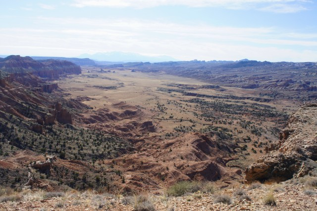 Upper South Desert from the overlook, with Henry Mountains in the distance, Capitol Reef National Park