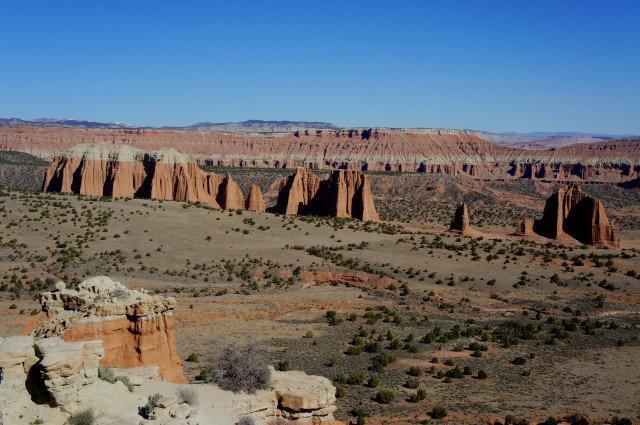 View of the Cathedrals from Cathedral Valley Overlook, Capitol Reef National Park