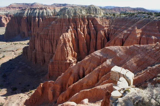 Fluted cliffs of the Hartnet from Cathedral Valley Overlook