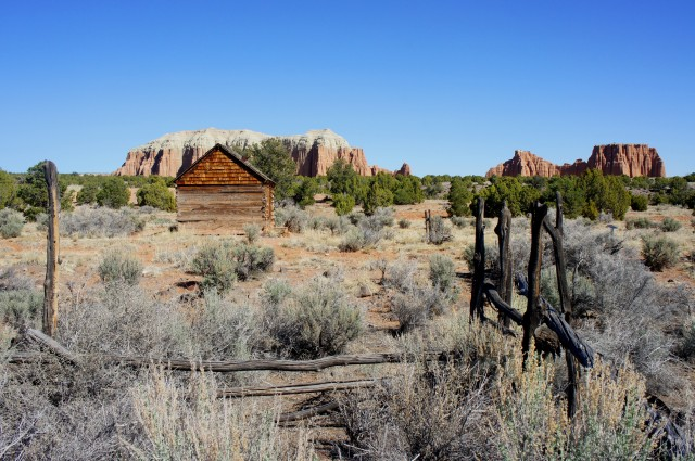 Morrell Cabin and corral, with the Cathedrals beyond
