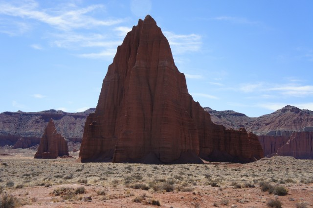 Temple of the Sun (right) and Temple of the Moon (left), Capitol Reef National Park