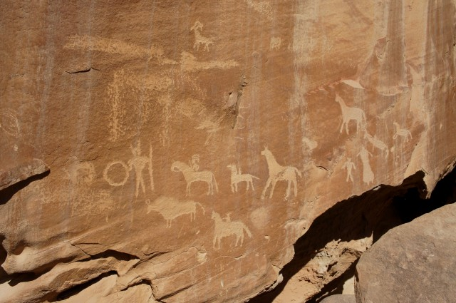 Impressive petroglyphs, probably ancestral Puebloan (vice Fremont)