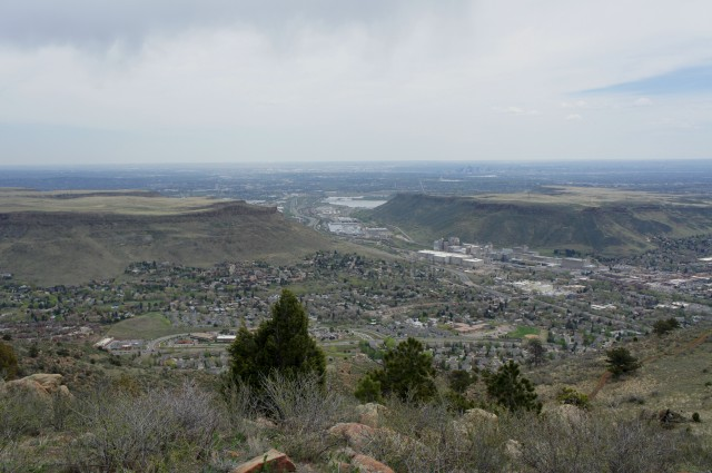 View of Golden and Denver from near the summit of Mount Galbraith