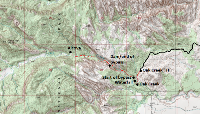Map of Oak Creek Canyon hike, Capitol Reef National Park; adapted from: http://www.mytopo.com/maps/