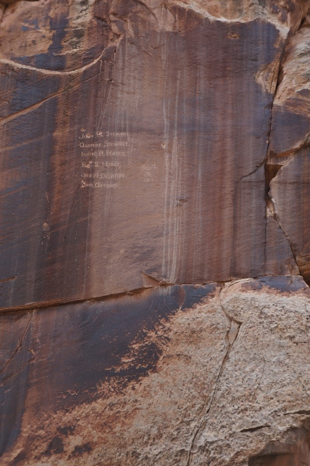 Tricky surveyors who left their mark in 1911, Capitol Gorge, Capitol Reef National Park