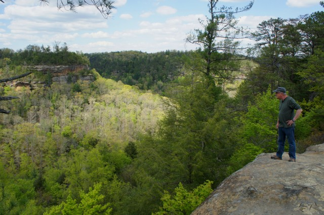 Checking out Red River Gorge to the north from atop Sky Bridge