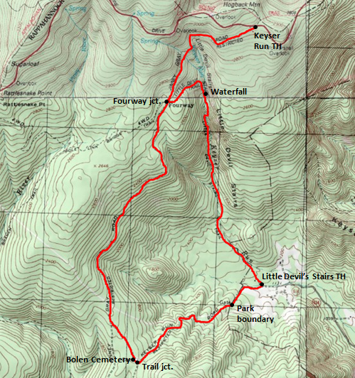 Map of Little Devils Stairs Trail Loop, Shenandoah National Park; adapted from http://www.mytopo.com/maps/