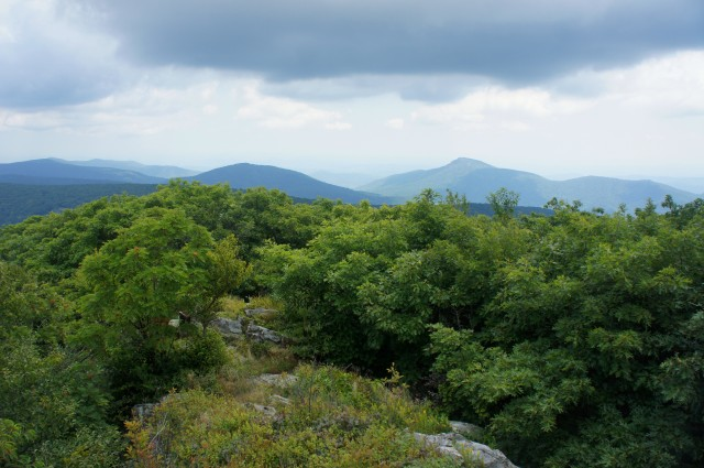 Hazel, Catlett, Hot, Thorofare, and Robertson Mountains, plus Old Rag from Hawksbill summit, Shenandoah National Park