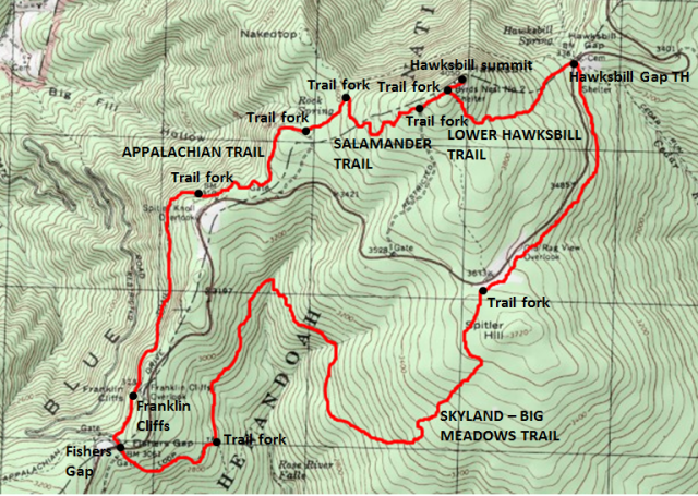 Trail Map of Hawksbill - Fishers Gap Loop, including Skyland-Big Meadows Trail, Shenandoah National Park; adapted from http://www.mytopo.com/maps/