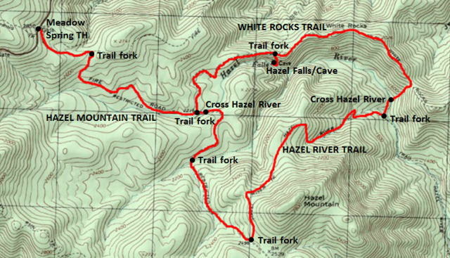 Map of loop hike to Hazel Falls and Hazel Cave, plus White Rocks Trail and Hazel River Trail, Shenandoah National Park; adapted from: http://www.mytopo.com/maps/