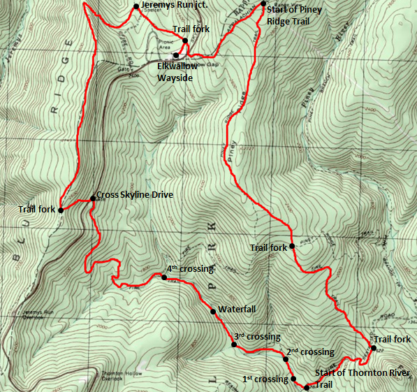 Map of Piney Ridge - Thornton River Trail Loop, Shenandoah National Park; adapted from http://www.mytopo.com/maps/