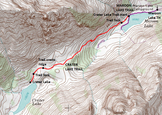 Map of Crater Lake Trail, Maroon Bells Recreation Area, White River National Forest; adapted from: http://www.mytopo.com/maps/