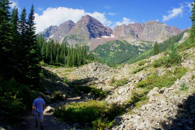 Maroon Bells from the rock field, Crater Lake Trail